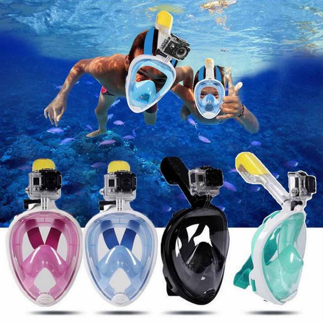 High Quality Anti-fog Anti-Leak Full Face Snorkeling Masks Panoramic View Swimming Snorkel Scuba Underwater Scuba Diving Mask 2018 new underwater scuba anti fog full face diving mask snorkeling set respiratory masks safe and waterproof
