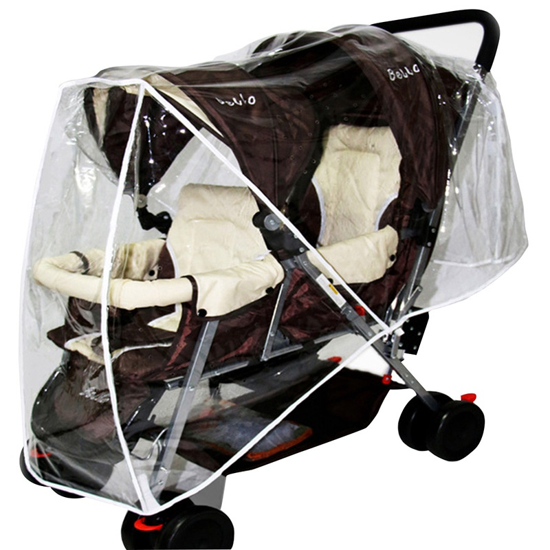 Twin Baby Rain Cover Carriage Twin Stroller Baby Stroller Canopy Waterproof Rain Cover Wind Shield Pushchair Stroller Accessory