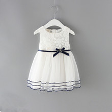 Newborn Girls Princess Baby Dress Kids Wedding Party Pageant Lace Cotton Dresses Ball Gown 0 2Y white