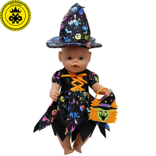 Baby Born Doll Clothes Cute Halloween Witch Dress Fit 43cm Zapf Baby Born 16-18 inch Doll Accessories Children Birthday Gifts T1 baby born doll clothes fit zapf doll jumpsuit suit with cute hat doll pajamas sleeping clothes 18inch children birthday gifts
