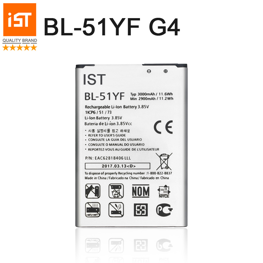 100% IST Original BL-51YF Mobile Phone Battery For LG G4 BL-51YF H815 H818 H810 VS999 F500 Capacity 3000mAh Replacement Battery