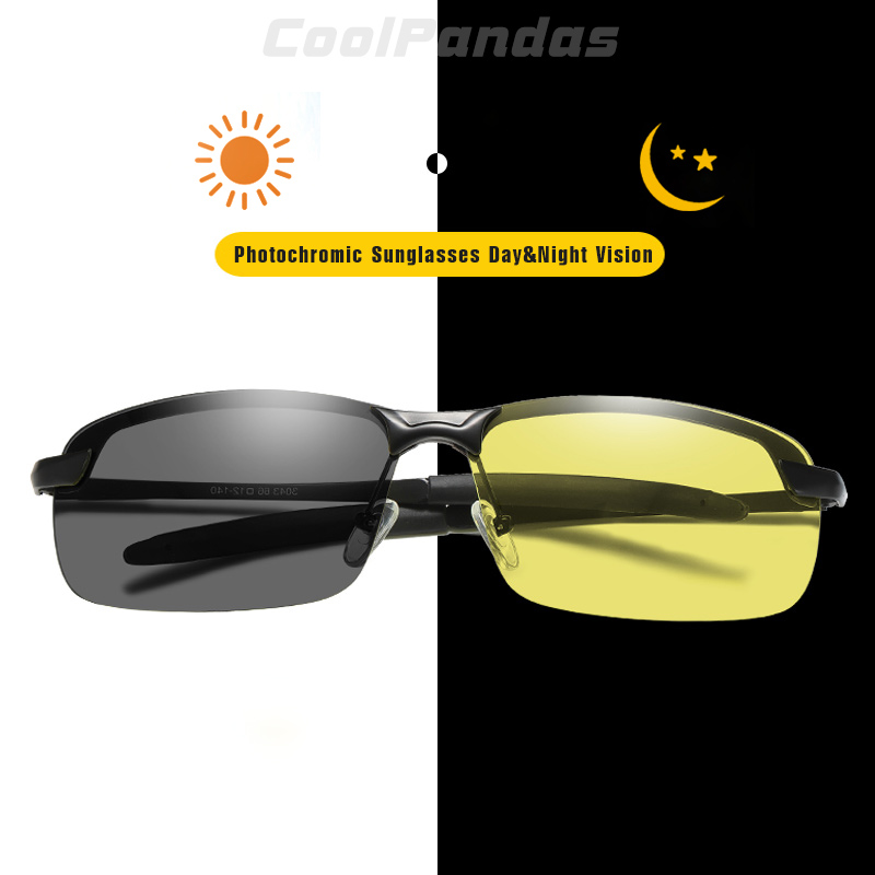 Men Photochromic Polarized Retro Sunglasses Day and Night Driving Sports Glasses