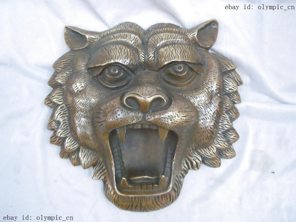 10 China brass copper finely carved luck tiger Sculpture statue10 China brass copper finely carved luck tiger Sculpture statue