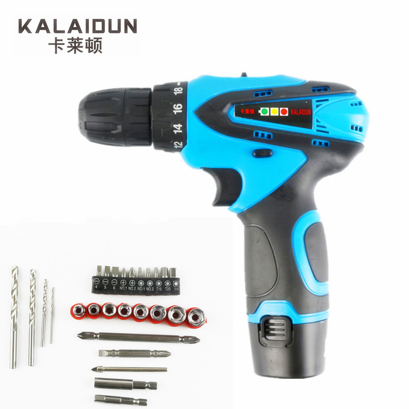 KALAIDUN 12V Electric Screwdriver Power Tools Mini Electric Drill Lithium Battery Cordless Drill Hand Tools With 27pcs Bit beibehang europen classic papel de parede 3d flooring damask wallpaper embossed flocking non woven modern home decor wall paper