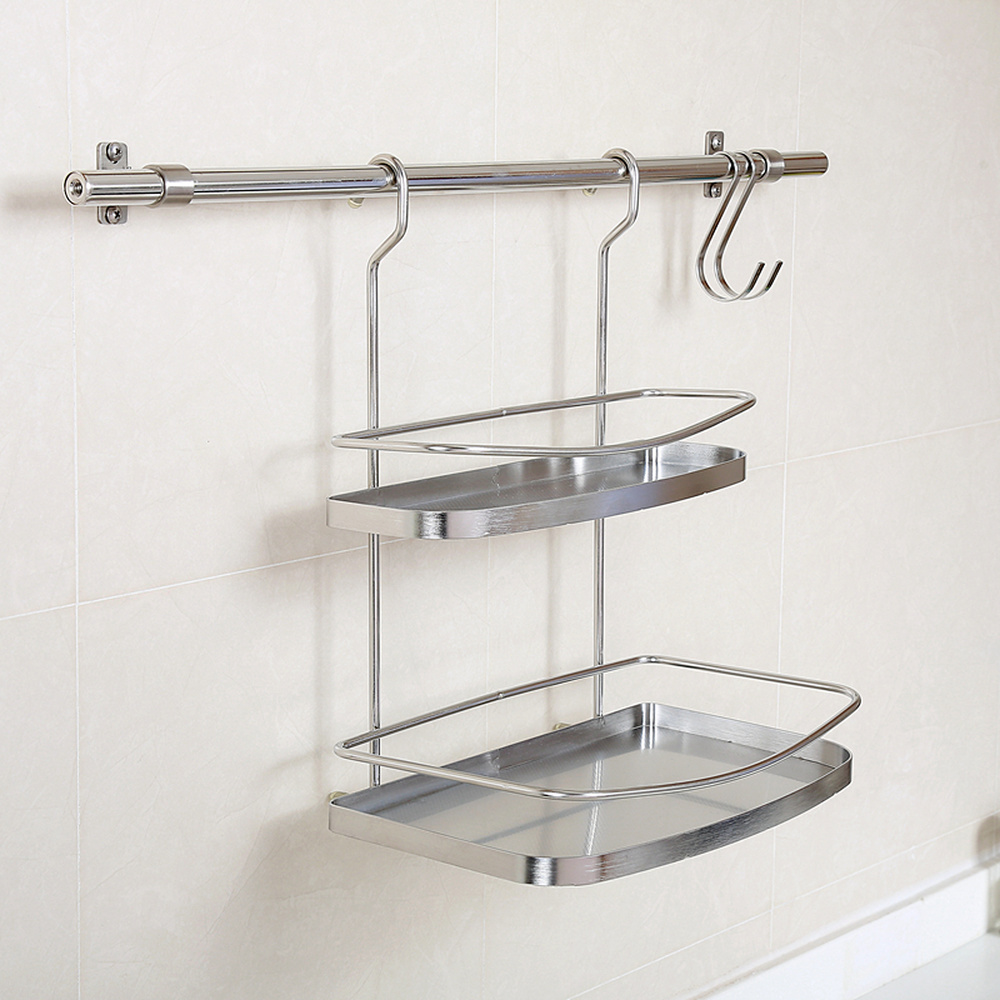 A1 Kitchen rack wall-mounted seasoning storage rack without rod 304 stainless steel hanging truss wx8081026