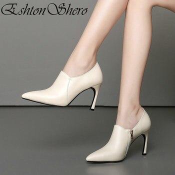 EshtonShero Women's Shoes Pumps Genuine Leather+PU Pointed Toe Zipper Elegant Thin High Heel Ladies Wedding Shoes Size 34-39