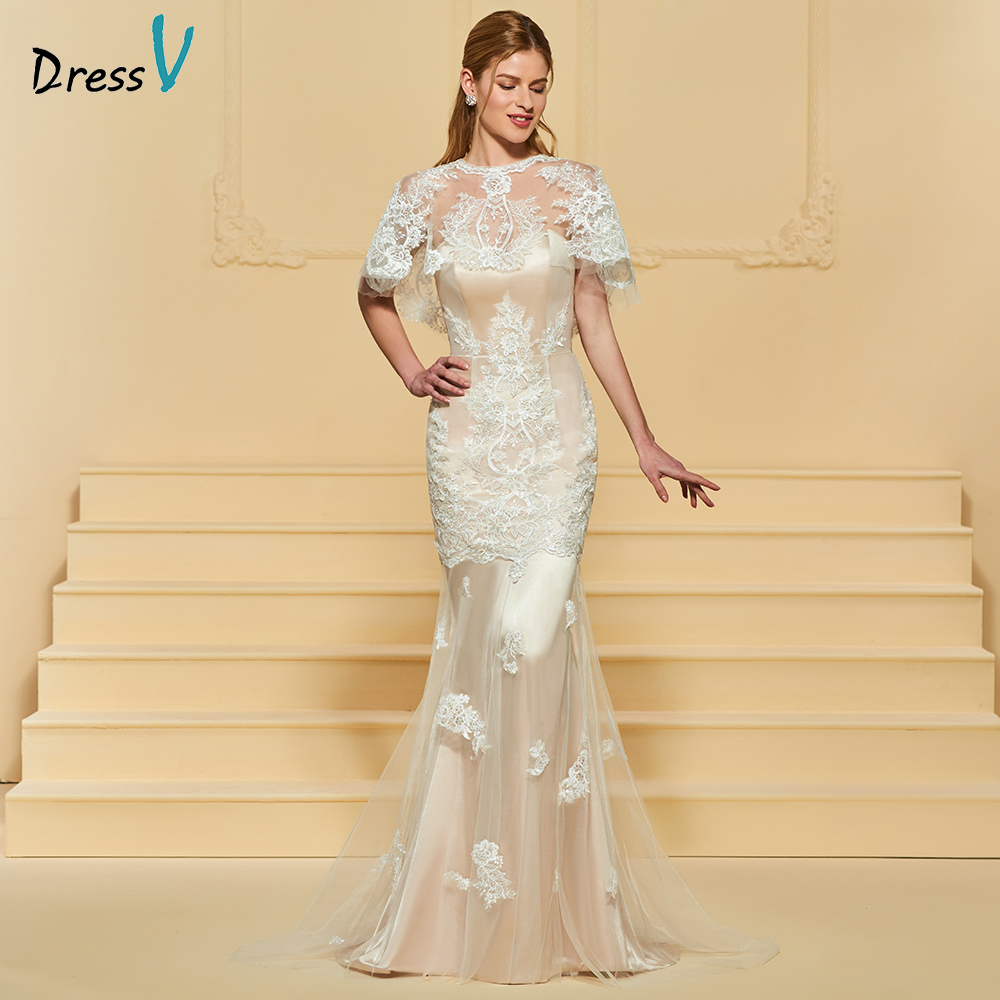 Elegant Lace Sleeve Short Wedding Dresses 2016 Scoop Neck: Dressv Lace Scoop Neck Elegant Mermaid Wedding Dress Floor