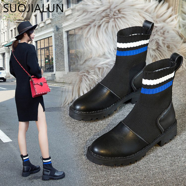 SUOJIALUN Women Elastic Sock Boots Slip On  Flat Heels Women Ankle Boots  Comfortable Ladies  Soft Leather Classic Shoes