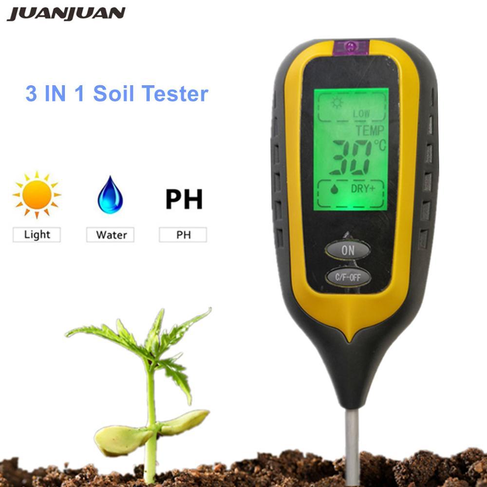 3//4 In 1 LCD Digital pH Meter for Moisture Temperature Sunlight Garden Soil ON