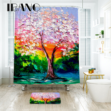 IBANO Maple Leaf Oil Paiting Shower Curtain Waterproof Polyester Fabric Bath For The Bathroom Decoration