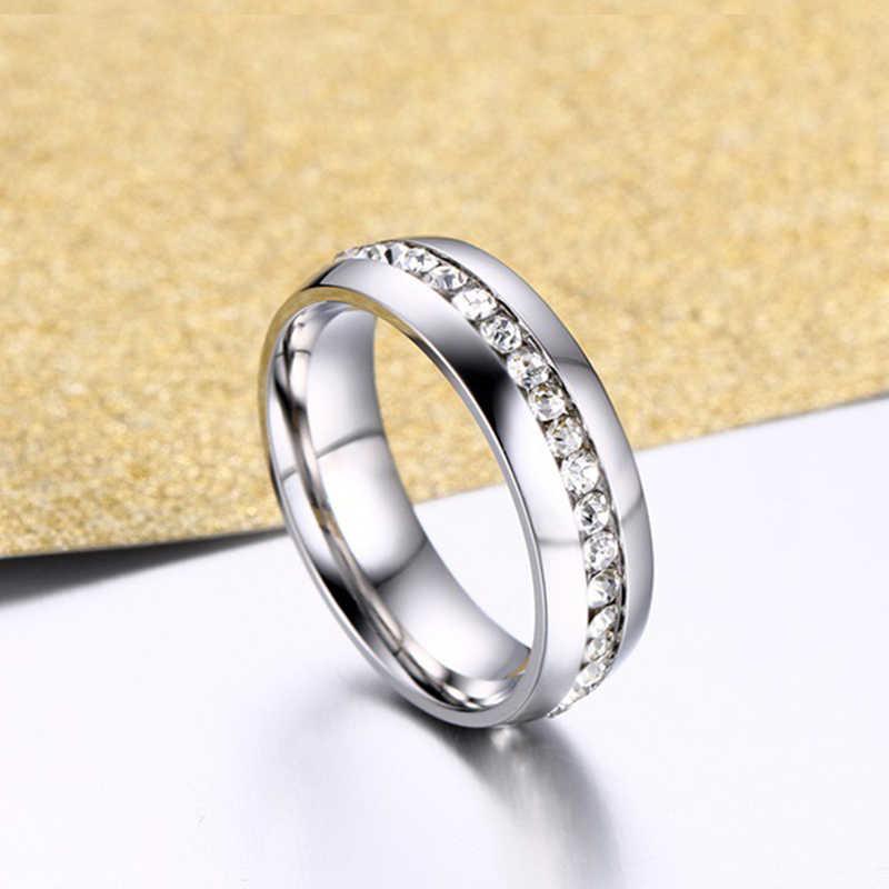 כסף זהב צבע חתונה טבעת עבור נשים נירוסטה טבעת אירוסין טבעת נקבה Rhinestones תכשיטי 6mm