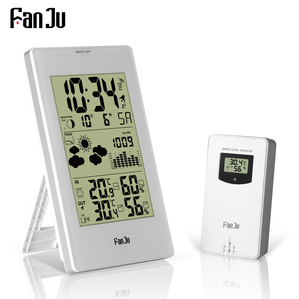 FanJu FJ3352 Weather Station With Barometer Forecast Temperature Humidity Wireless Outdoor Sensor Alarm and Snooze Digital Clock temperature and humidity sensor protective shell sht10 protective sleeve sht20 flue cured tobacco high humidity