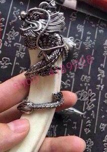 Image 3 - Dentes de javali selvagens genuínos naturais, pingente de cabeça de dragão de prata tibetano