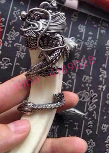 Image 3 - Véritable dents de sanglier naturel, pendentif tête de dragon en argent tibétain