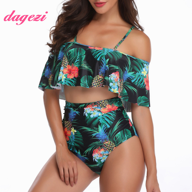 3bc995f745 2018 Sexy Women High Waist Bikini Plus Size Swimsuit Flounce Bandeau Swimwear  Off The Shoulder Large Size Ruffle Bikini Set