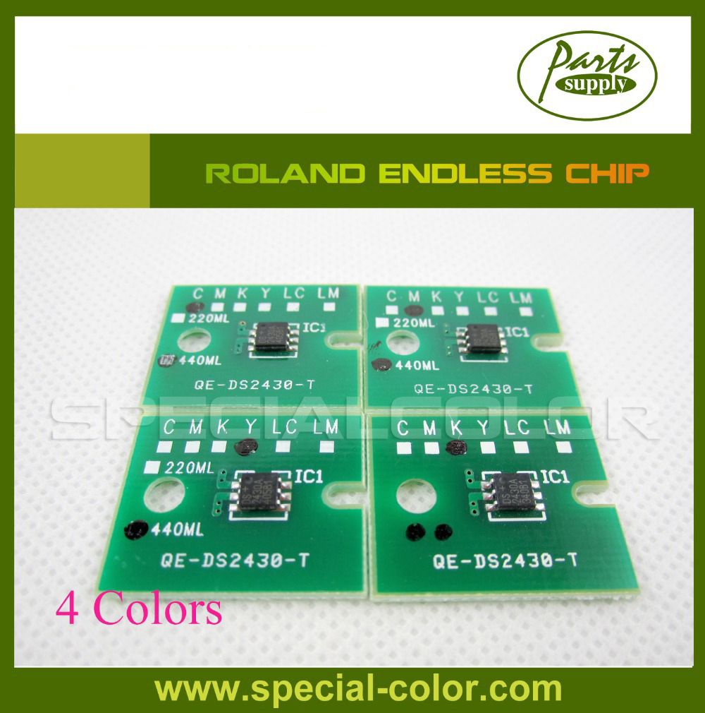 On Sale!! 4 color/Set Printer Endless Chip for Roland Refill ink cartridge 4 color permanent chip for hp 685 for hp 3525 4615 4620 5525 4625 printer cartridge chip