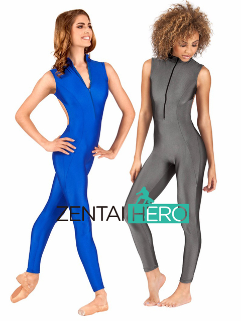 096c313614e4 Free Shipping Sexy Woman Unitard Womens Lycra Spandex Zentai Suit Backless  Dancewear Sleeveless Zentai Catsuit Front Zip LL1006