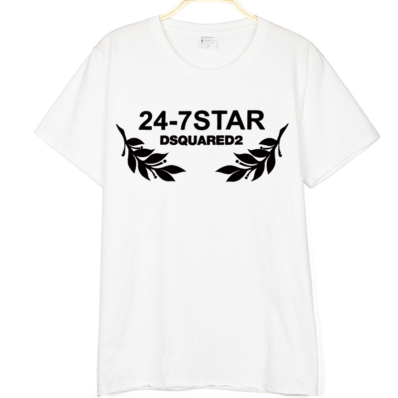 New Dsq2 24 7 Star Printed Summer Fashion Unisex Cool   T     Shirt   Mens Cotton   T     Shirt