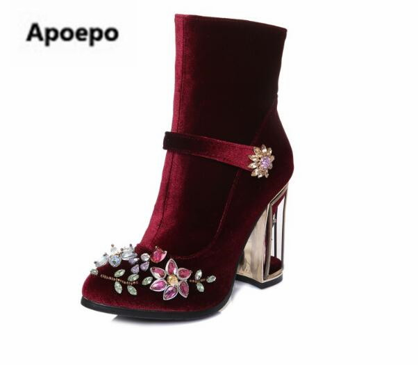 hot sales black red women boots fretwork heels high heels ankle boots women crystal floral ladies shoes zipper women's shoes brand new hot sales women nude ankle boots red black buckle ladies riding spike shoes high heels emb08 plus big size 32 45 11