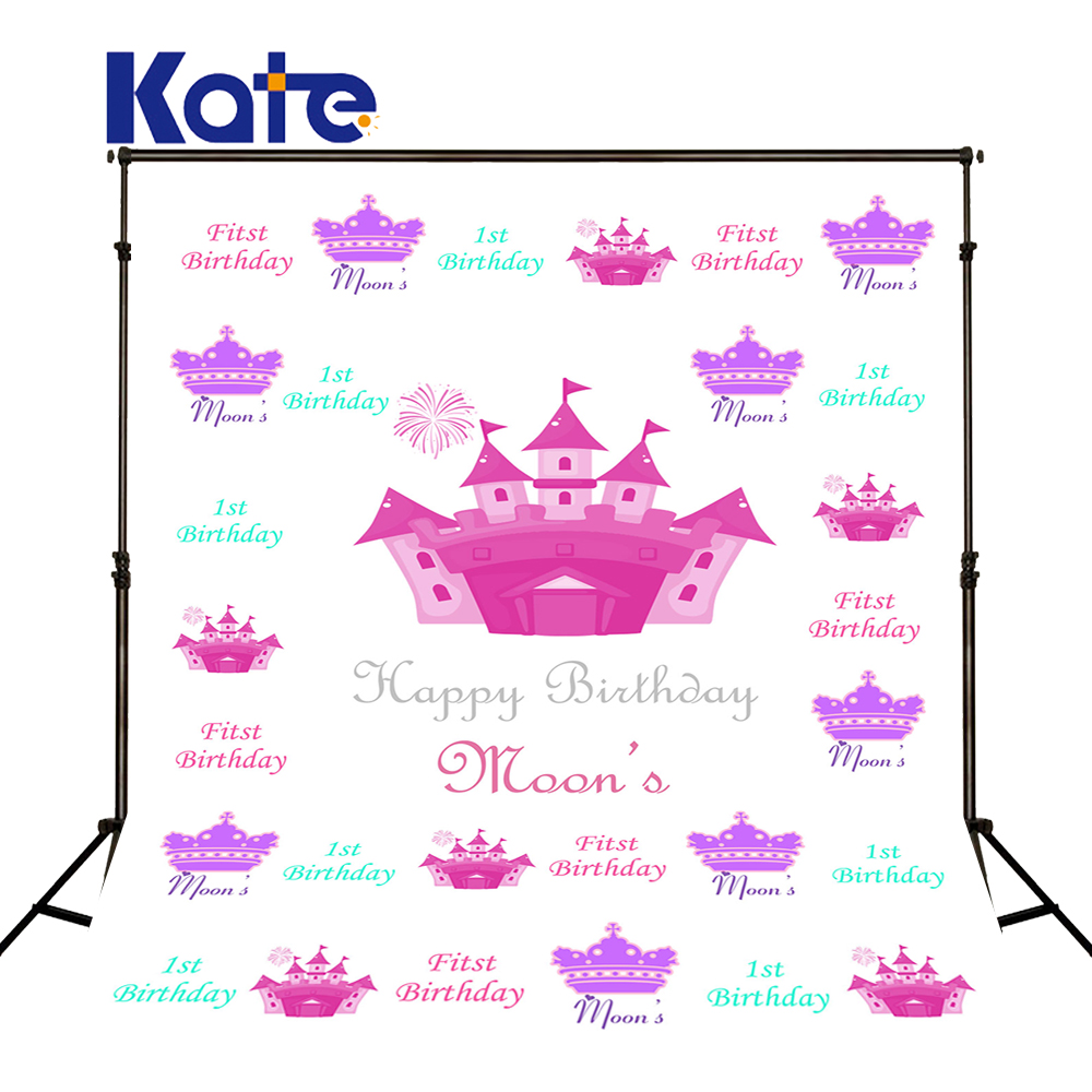 Kate White Birthday 1st  Newborn Photography Backdrop Pink Castle Wasable  Custom Newborn Printed Party Backgrounds сумка kate spade new york wkru2816 kate spade hanna