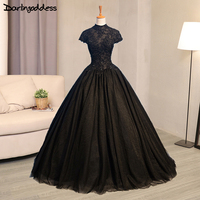 Luxury Black Gothic Wedding Dresses High Neck Lace Ball Gown Floor Length Wedding Gowns Plus Size