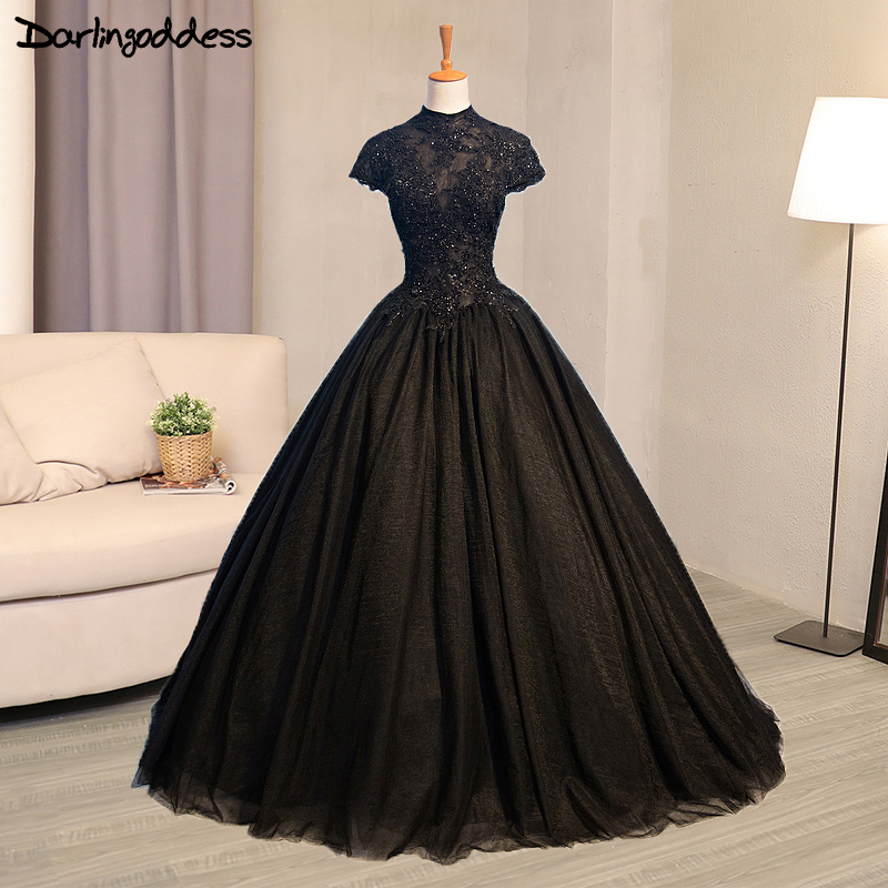 Popular Plus Size Gothic Wedding Gowns Buy Cheap Plus Size: Luxury Black Gothic Wedding Dresses High Neck Lace Ball