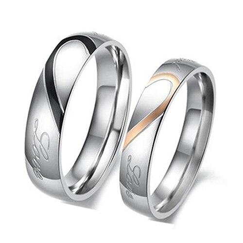 Простой половины сердца Форма Promise Ring Обручение полосы подходящую пару пары True Love кольцо черный для мужчин