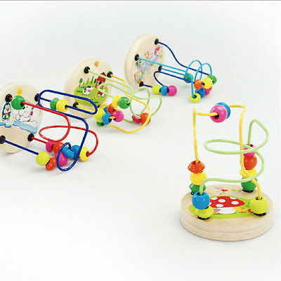 Newborn baby Wooden Toy Around Beads Wire Maze Children Baby Educational Game