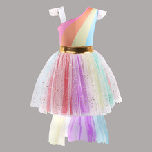 Elegant colorful Halloween birthday party dress children kids clothes baby girl mesh dress costume summer girl pettiskirt dress цена