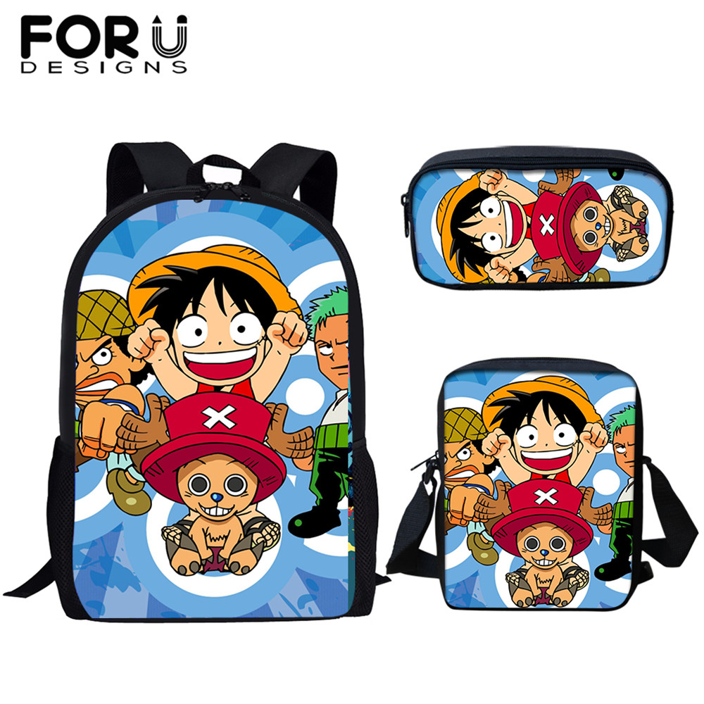 FORUDESIGNS 3set/pcs Childrens Backpack Satchel Bag Pack Funny Cartoon One-Piece Anime Print School Bags for Teenage Boys Mens