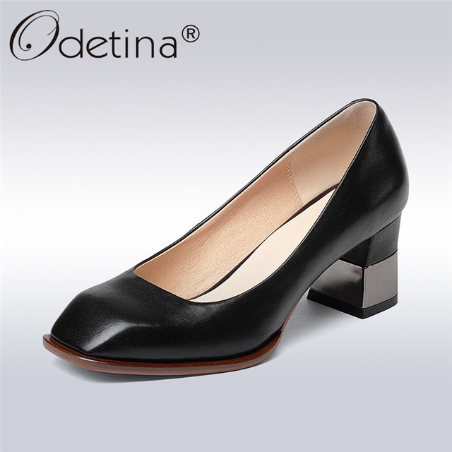 c8241a5c6ed Odetina 2017 New Arrive Retro Pumps Women Genuine Leather Square Toe Chunky  High Heels Dress Pumps Fashion Shoes Big Size 33-43