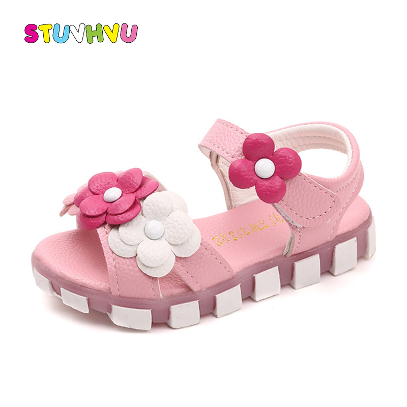 Summer Kids Sandals Flower Leather Girls Princess Shoes 2019 New Baby Toddler Girls Sandals Casual Slip Flats Pink White Purple