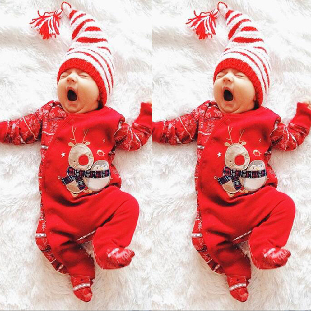Christmas Clothes Newborn Infant Baby Rompers Boys Girls Deer Romper Jumpsuit 2020 Winter Xmas Party Romper Outfits Clothes 30