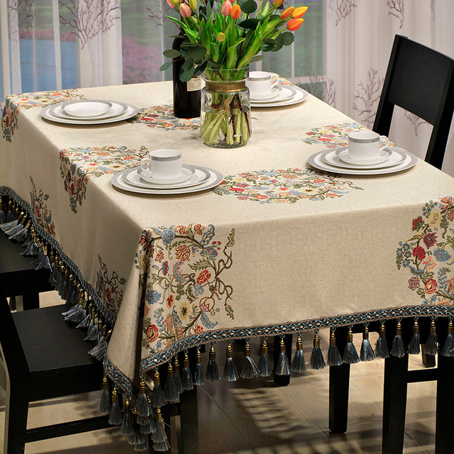 Incroyable American Jacquard Table Cloth Circle Plants Tablecloth Luxury Tassel Edge Dinner  Table Cover Kitchen Tafelkleed,