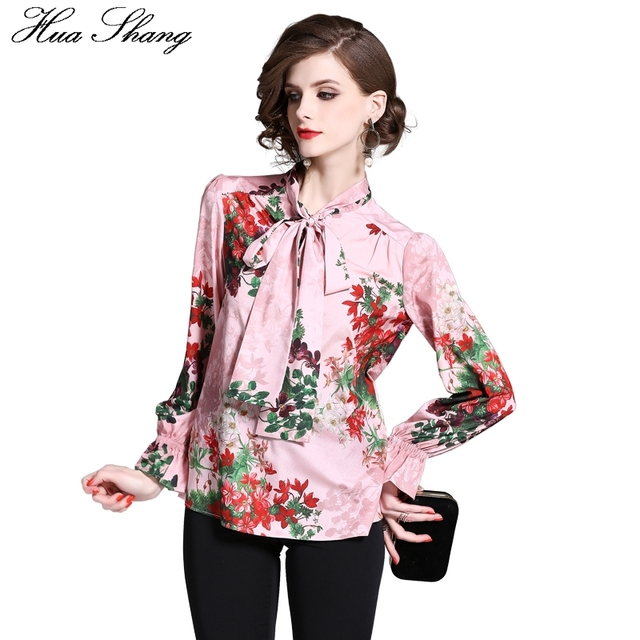 afa3a26e5c Women Shirts 2018 Floral Print Lace Up Bow Tie Stand Collar Long Sleeve  Chiffon Blouse Top Female Pink Sweet Ladies Office Shirt