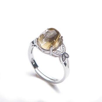 Genuine Natural Titanium Rutilated Quartz Fashion Silver Anniversary Women Man Ring
