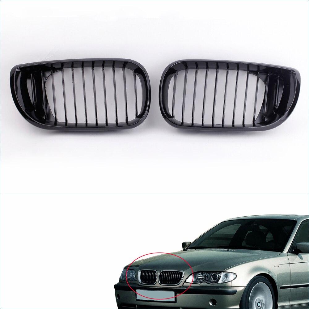 Car Accessories 2Pcs Car Front Grill Gloss Black Kidney