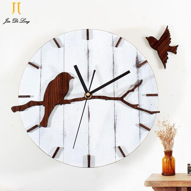 2017 New Retro Style Wall Clock Cute Bird Wood Wall Clock Mute Quartz Wall Clock Living Room Wall Clock