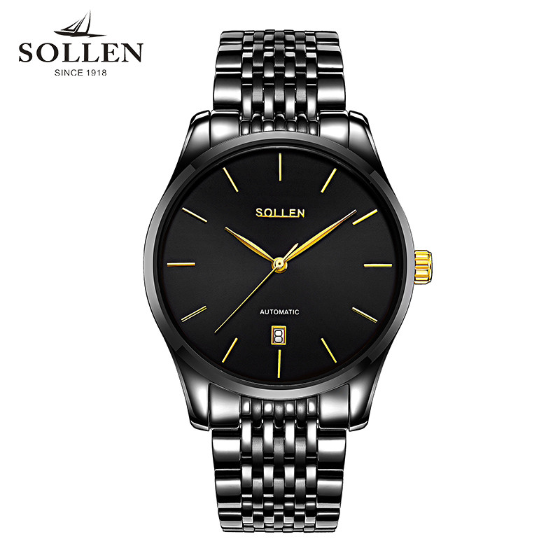Relogios Masculino SOLLEN calendar Mechanical Watch Luxury Men Black Waterproof Fashion Casual Military Brand Sports Watches t winner luxury brand skeleton mechanical hand wind watch men casual sports leather strap gold fashion clock relogios masculino