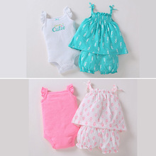 baby girl summer outfits set / Suspender dress + bloomers bodysuits Carters designs