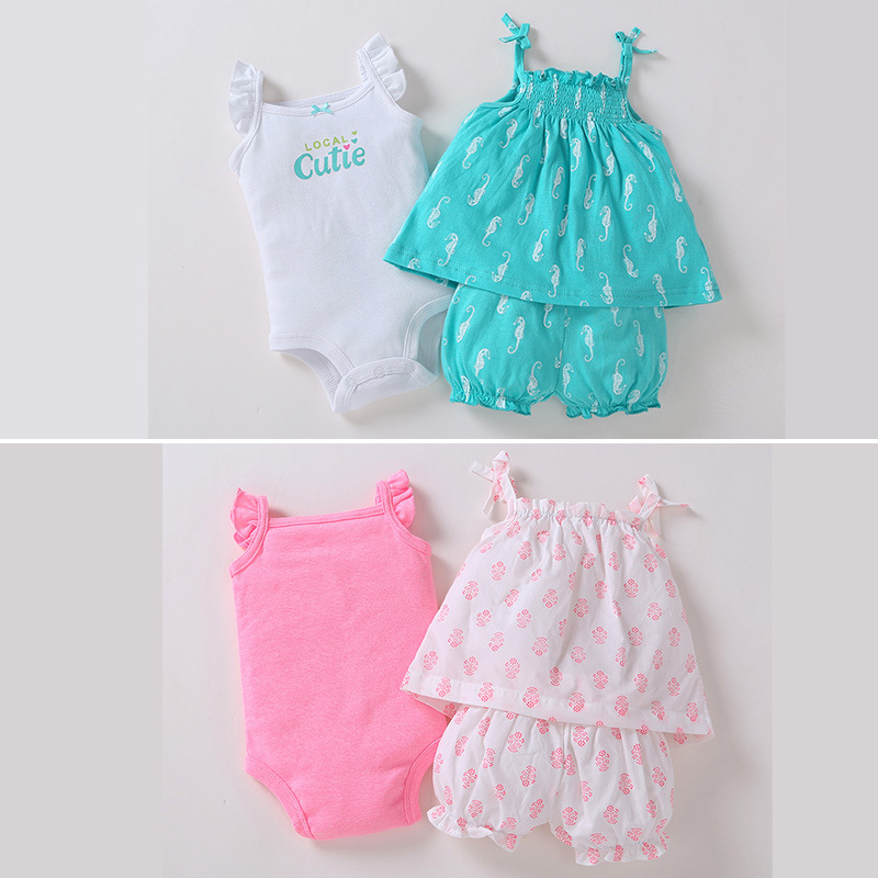 baby girl summer outfits set / Suspender dress + bloomers + bodysuits set / Carters designs