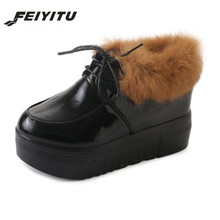 FeiYiTu Fashion Warm Snow Boots 2018 Heels Winter New Arrival Women Ankle Shoes Fur Plush Insole black