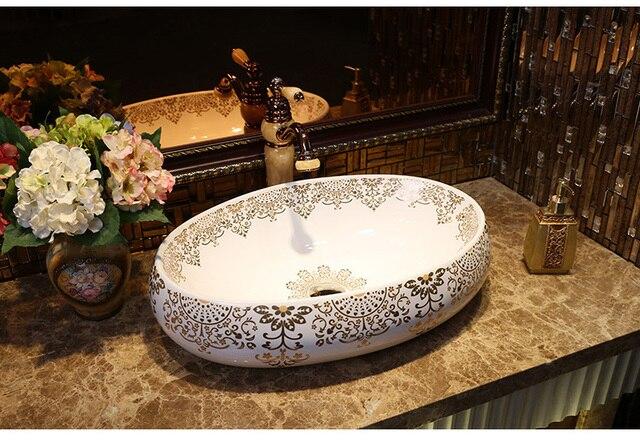 Lavabo Europa.Us 289 0 China Artistieke Procelain Handgemaakte Europa Vintage Keramische Lavabo Badkamer Wastafel Ovale Aanrecht Wastafel In China Artistieke
