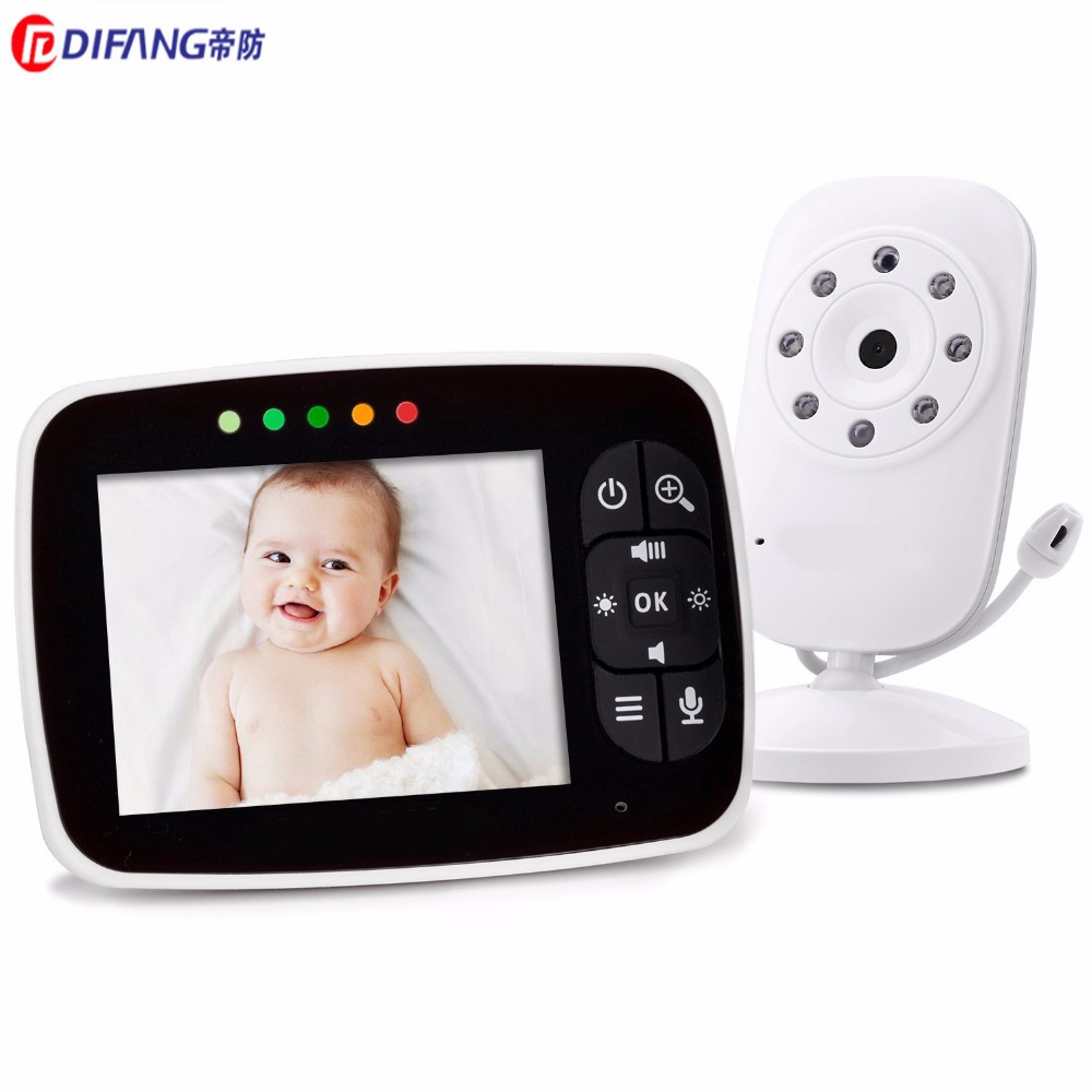 DiFang 2017 3.5 LCD Baby Monitor 8LED IR Camera 2-way Talk Crying Feeding Alarm Babyfoon Zoom Temperature Sensor from crying baby to contented baby