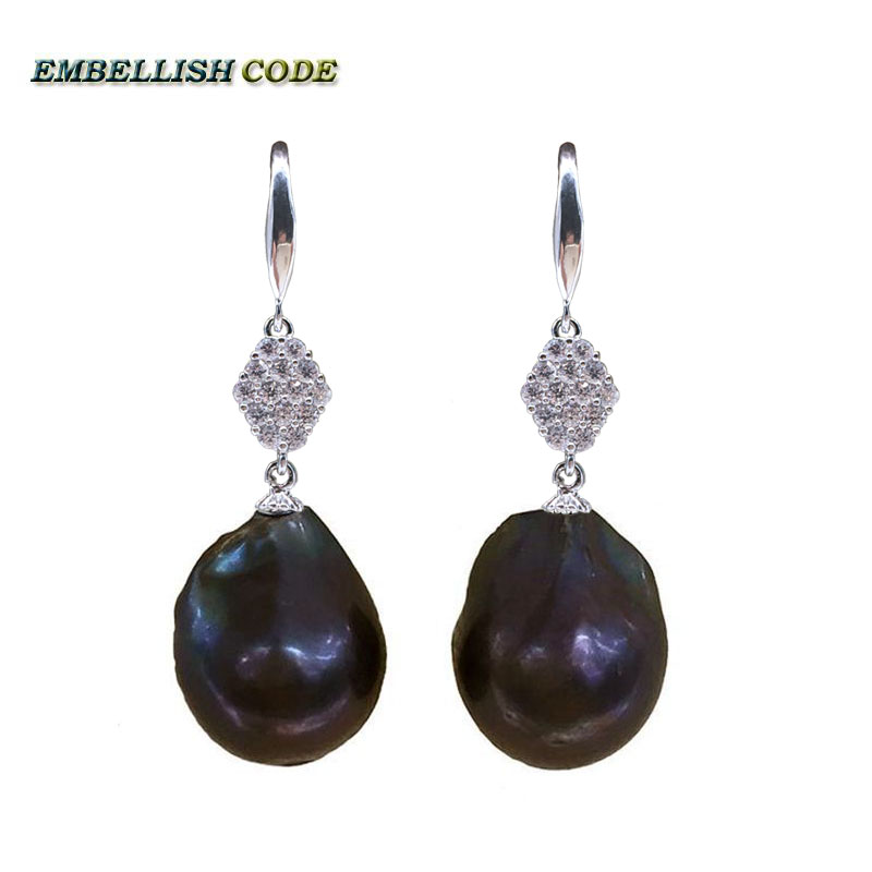 polite baroque pearl flame ball stely hook dangle long earring black blue brown colorful natural pearls zircon nice for Lady in Earrings from Jewelry Accessories