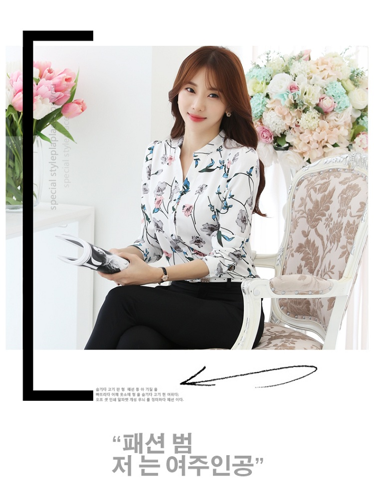HTB1aM6 OXXXXXbqXFXXq6xXFXXX4 - FREE SHIPPING Women Floral Chiffon Blouse  Work Office JKP116