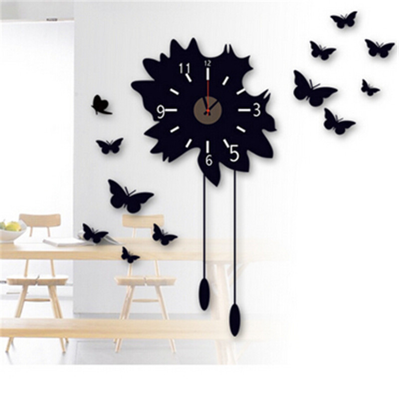 806 Fashionable Black Butterfly 3d Wall Clocks Diy Living Room Decor
