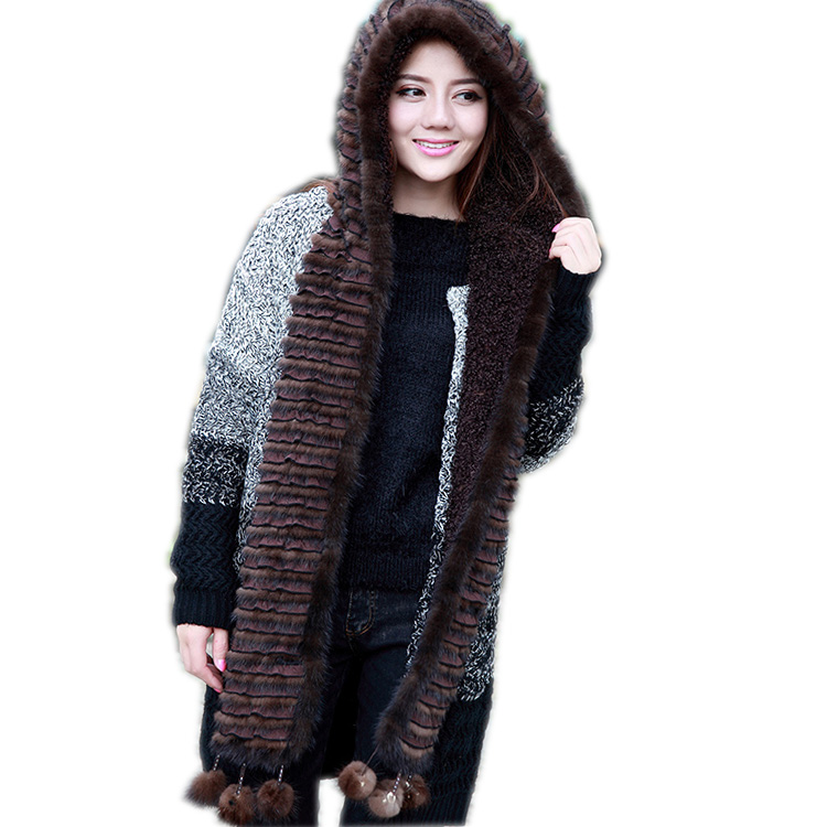 Free Shipping New Geniune  Real Mink Fur Hat Luxury Women Scarves Winter Handmade Knitted Natural Mink Fur Hat Scarf Female