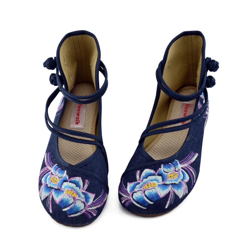 Image 3 - Veowalk zapatos de Ballet informales para mujer con flores bordadas a mano, zapatos de algodón de mezclilla suave para mujer con correa en el tobilloballet flatscotton shoesankle strap -