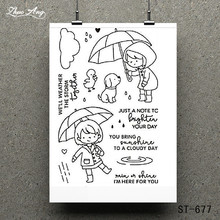 ZhuoAng Little girl playing umbrella Transparent and Clear Stamp DIY Scrapbooking Album Card Making Decoration